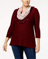 Style&Co. Style & Co Plus Size Printed Velvet Scarf Sweater, Created for Macy's