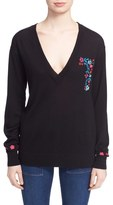 Tanya Taylor 'Lucy' Embroidered V-Neck Sweater