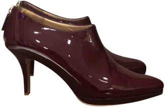 Oscar de la Renta Burgundy Leather Ankle boots