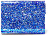 Jimmy Choo Candy Suede-trimmed Glittered Acrylic Clutch - Bright blue