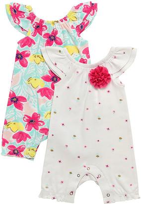 Baby Starters Girls' Rompers White - Teal & Hot Pink Angel-Sleeve Romper & Ivory Floral Angel-Sleeve Romper - Newborn & Infant