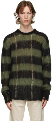 Golden Goose Black and Green Stripe Mohair Algar Sweater