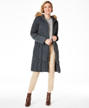 Cole Haan Chevron Quilt Hooded Down Coat, Created for Macy's