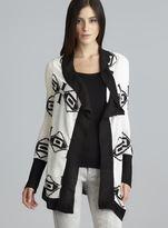Derek Heart Geometric Print Black & White Draped Open Front Cardigan