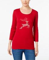 Karen Scott Petite Reindeer Graphic Top, Only at Macy's