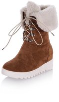 BalaMasa Ladies Snow Boots Heighten Inside Bandage Imitated Suede Boots