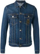 Dolce & Gabbana emblem patch denim jacket - men - Silk/Cotton/Calf Leather/Brass - 50