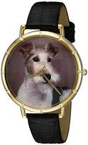 Whimsical Watches Fox Terrier Black Leather and Goldtone Photo Unisex Quartz Watch with White Dial Analogue Display and Multicolour Leather Strap N-0130039