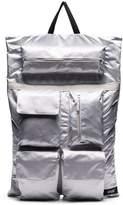 Raf Simons black and silver metallic X Eastpak punk poster print backpack