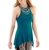 JCPenney BY AND BY by&by Sleeveless Knit Neck-Trim Sharkbite-Hem Top
