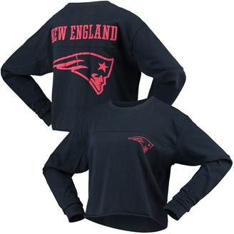 G Iii Women's G-III 4Her by Carl Banks Navy New England Patriots Flight Song Crop Long Sleeve T-Shirt