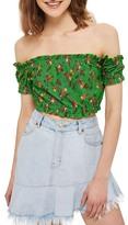 Topshop Floral Off the Shoulder Crop Top (Regular & Petite)