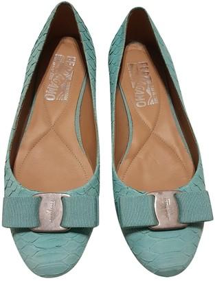 Salvatore Ferragamo Green Patent leather Ballet flats