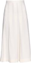 Mother of Pearl Dune wool-piqué pleated midi skirt