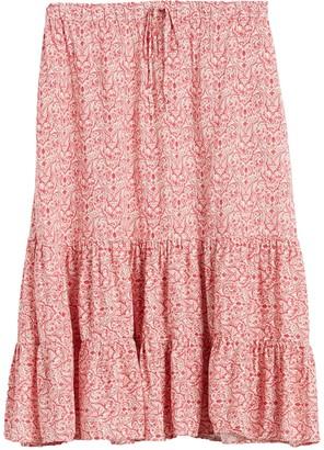 Caslon Ditsy Pull-On Flounce Midi Skirt (Plus Size)