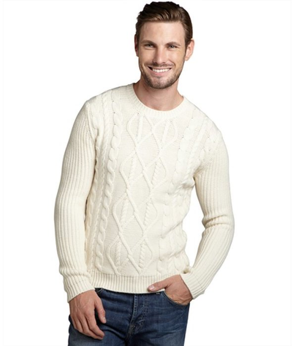 Wyatt ivory wool cable knit fishermans sweater