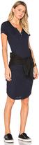 Monrow Short Sleeve Rib Mini Dress in Navy