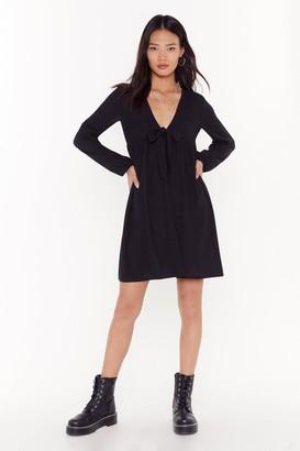Nasty Gal Womens Tie to Be Nice Ribbed Mini Dress - black - 4