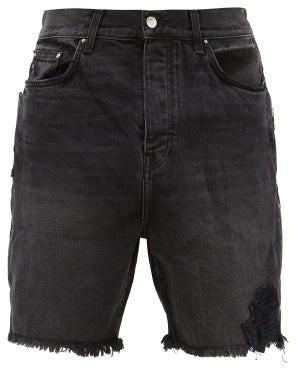 Amiri Raw-edge Denim Shorts - Mens - Black