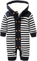 ZOEREA Infant Newborn Baby Romper Sweaters Velvet Knitted Hooded Striped 0-18months