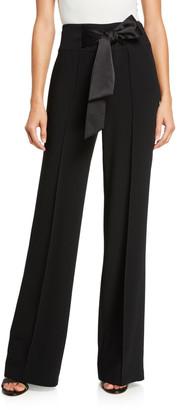 Cinq à Sept Isabel Crepe Pintuck Tie-Waist Pants