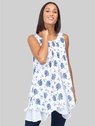 M&Co Izabel floral layered hanky hem tunic