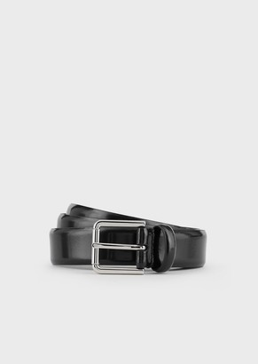 Giorgio Armani Leather Belt In Brushed Calfskin