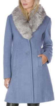 INC International Concepts Inc Faux-Fur Collar Walker Coat, Created for Macy's