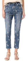 Rebecca Taylor Embroidered Straight Ankle Jeans