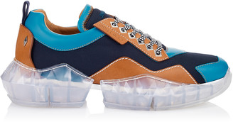 Jimmy Choo DIAMOND/M Aqua and Tan Soft Leather and Techno Mesh Trainers with Trainers with Chunky Platform