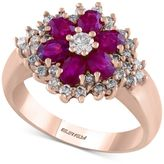 Effy EFFYandreg; Final Call Ruby (1-3/8 ct. t.w.) and Diamond (5/8 ct. t.w.) Flower Ring in 14k Rose Gold