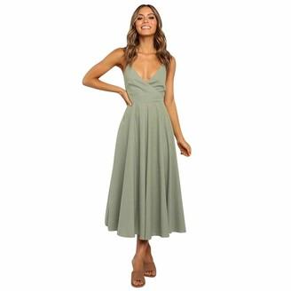 Moent Women Clothes Moent Women Sexy V Neck Sleeveless Camisole Dress Ladies Plain Beach Dress