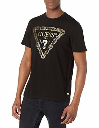 GUESS Men's Short Sleeve Chain Logo Tee