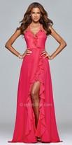 Faviana Lace Up Ruffle High Slit Evening Dress