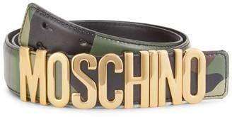 Moschino Camo Logo Buckle Leather Belt