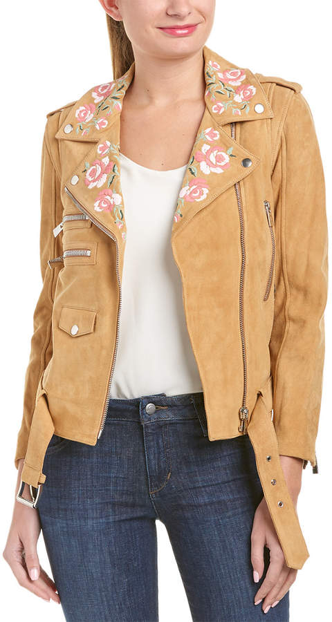 Anine Bing Embroidered Suede Jacket
