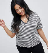 Asos DESIGN Curve Linen V-Neck T-Shirt In Stripe