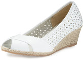 Sesto Meucci Mersey Laser-Cut Wedge Pump, White