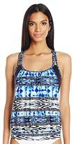 Kenneth Cole Reaction Women's Go Girl Aztec Layered Tankini With Criss Cross Back Straps