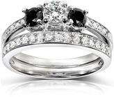 Kobelli Jewelry 4/5 CT TW White and Black Diamond 14K White Gold 3-Stone Bridal Set