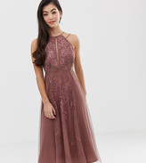 Asos DESIGN Petite double strap midi dress with lace inserts and floral embroidery