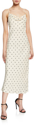 Shona Joy Odell Polka-Dot Cowl-Neck Bias-Cut Sleeveless Midi Dress