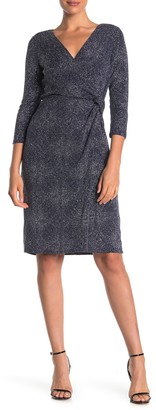 Marina Surplice Neck Glitter Dress