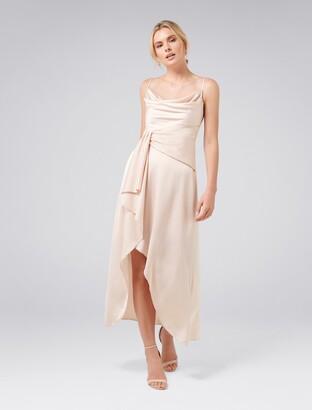 Forever New Dove Cowl Neck Wrap Dress - Blush - 14