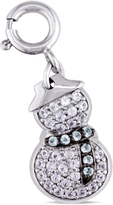 Sofia B 2/3 CT TW Sky Blue Topaz and Lab-Created Sapphire Silver Snowman Charm