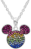 Fine Jewelry Disney Sterling Silver Multi Color Crystal Mickey Head Pendant Necklace Family