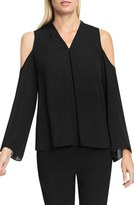 Vince Camuto Pleat Front Cold Shoulder Blouse