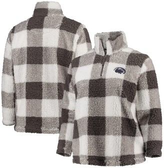 Women's Gray/Cream Penn State Nittany Lions Plus Size Plaid Sherpa Quarter-Zip Pullover Jacket