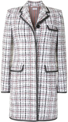 Thom Browne Check-Pattern Mid-Length Coat
