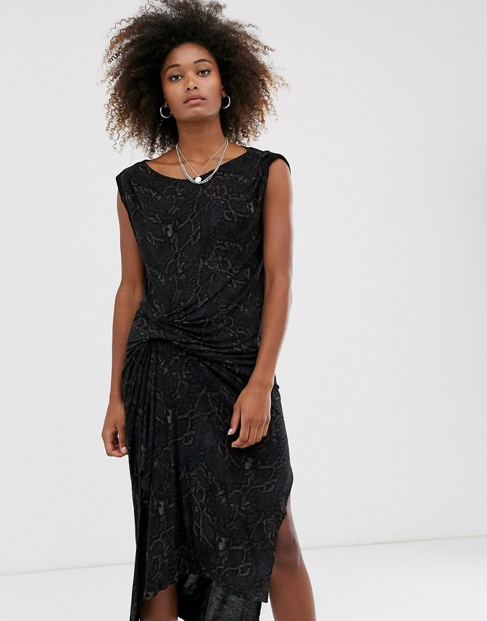 AllSaints snakecharm riviera jersey sleeveless midi dress-Black